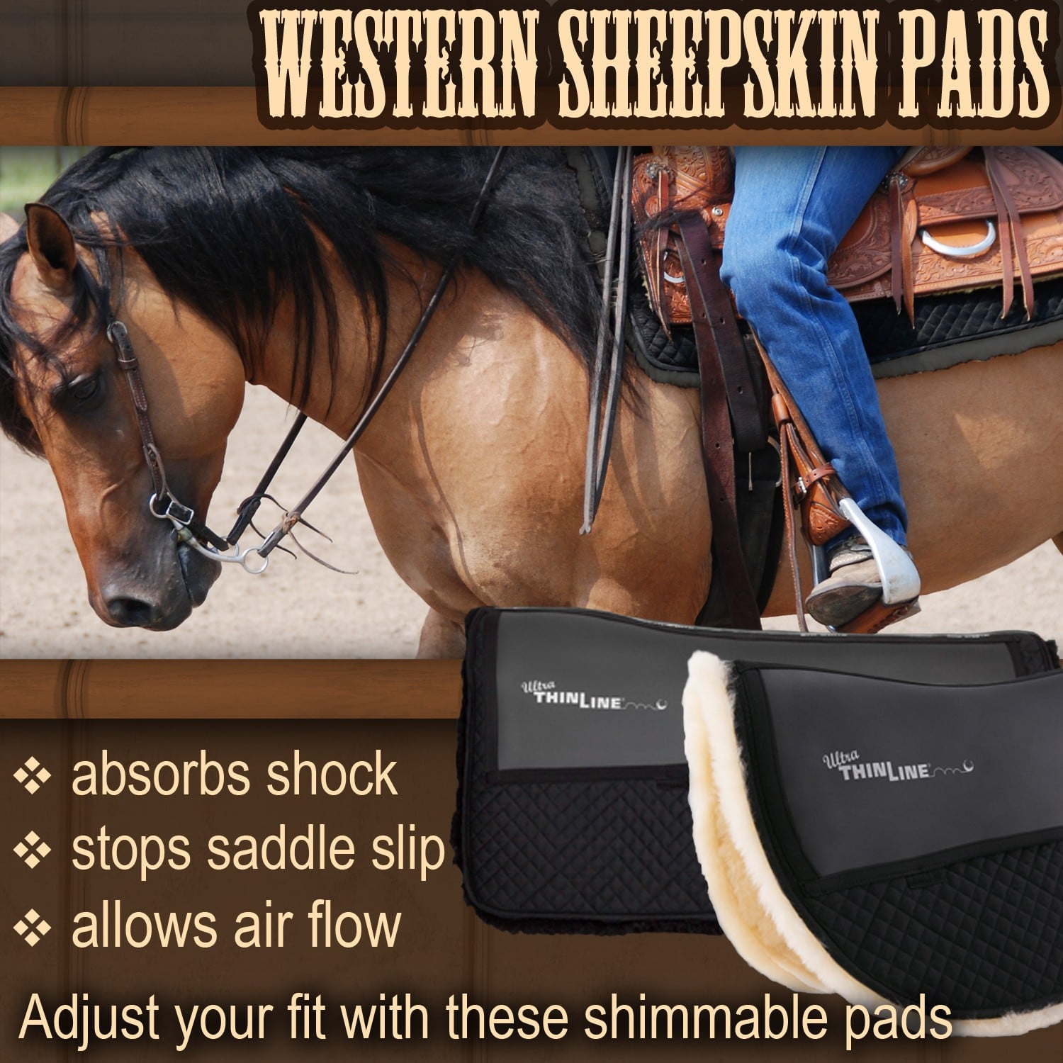 Western sheep skin pads